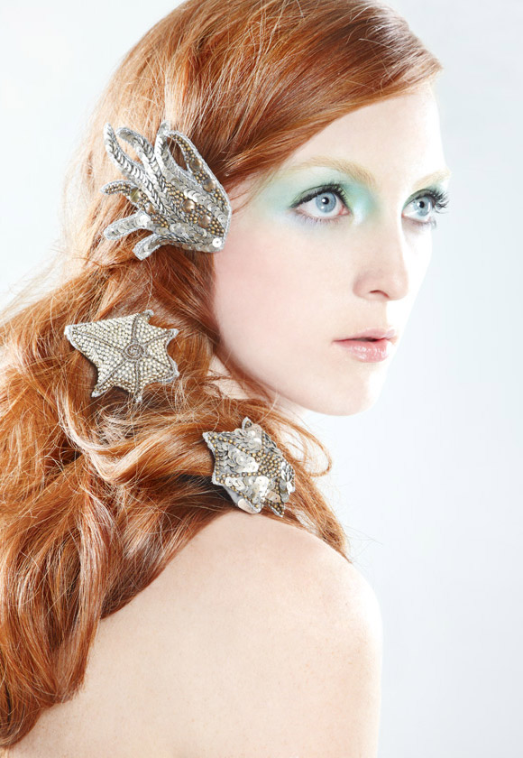 Colette Malouf - Embroidered Clips, Mermaid Sirena kawaii look