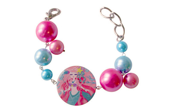 Locketship - Mermaid Bracelet, Sparkling Sea Collection, Mermaid Sirena kawaii look