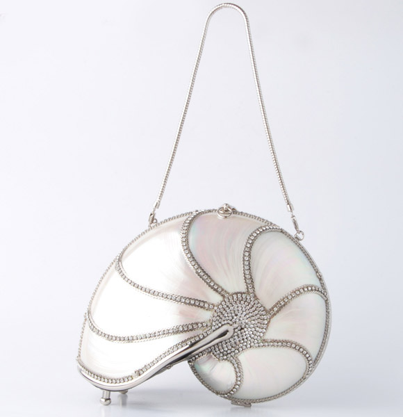 Nautilus Shell Crystal Swarovski Handbag, borsa conchiglia, Mermaid Sirena kawaii look