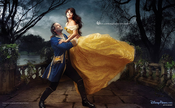 Annie Leibovitz for Disney: Jeff Bridges and Penelope Cruz as Beauty and the Beast / Annie Leibovitz per Disney: Jeff Bridges and Penelope Cruz sono La Bella e la Bestia