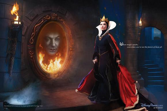 Annie Leibovitz for Disney: Olivia Wilde and Alec Baldwin as the Evil Queen and the Magic Mirror from Snow White and the Seven Dwarfs / Annie Leibovitz per Disney (Dietro le Quinte): Olivia Wilde e Alec Baldwin sono Grimilde e lo Specchio magico di Biancaneve e i 7 nani