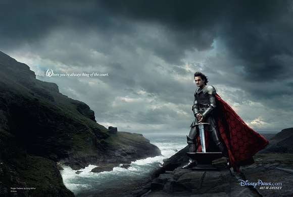 Annie Leibovitz for Disney: Roger Federer as King Arthur from The Sword in the Stone / Annie Leibovitz per Disney: Roger Federer è Re Artù de La Spada nella Roccia
