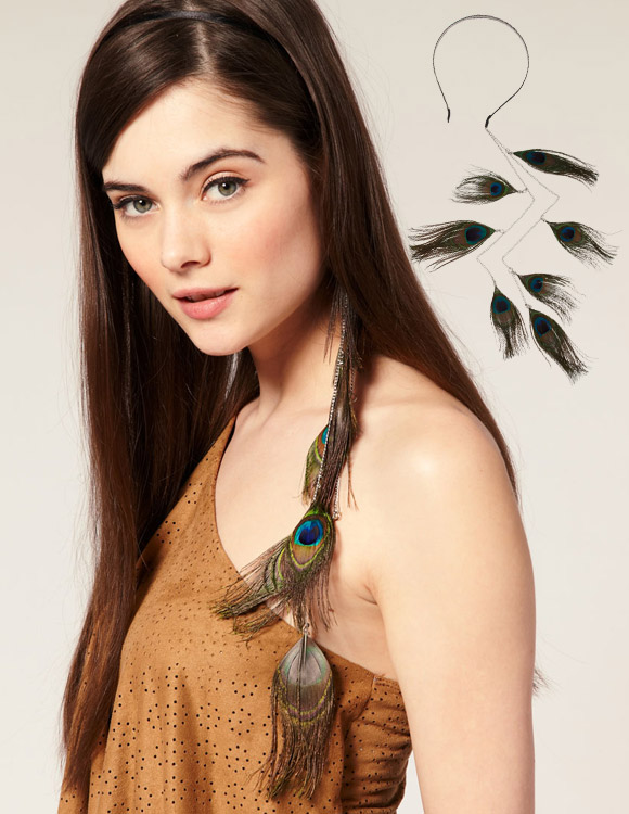 Asos - Asymmetric Hanging Peacock Feather Alice Band, Decorazione per capelli piume di pavone
