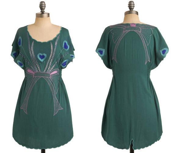 Sugarhill Boutique - Peacock Paradise Dress, Green, Vestito verde Pavone