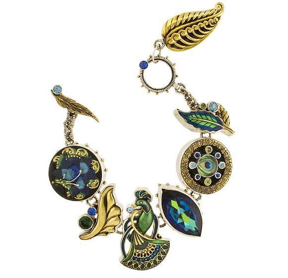 Mars and Valentine - Peacock Bracelet - bracciale Pavone d'oro