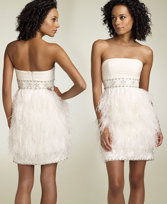 Sue Wong - Strapless Dress with Ostrich Feathers - Abito bianco di piume senza maniche