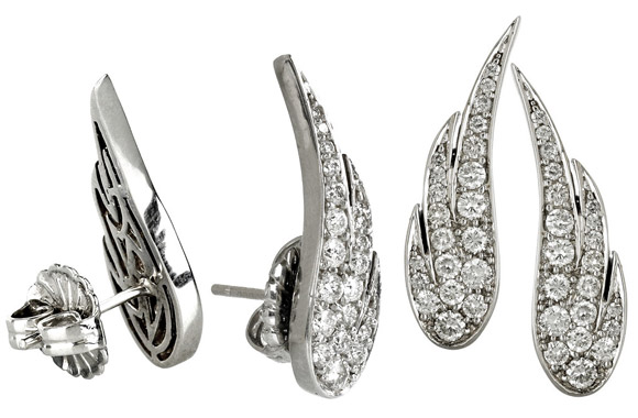 Anita Ko - White Gold Diamond Pavé Wing Earrings, orecchini con ali