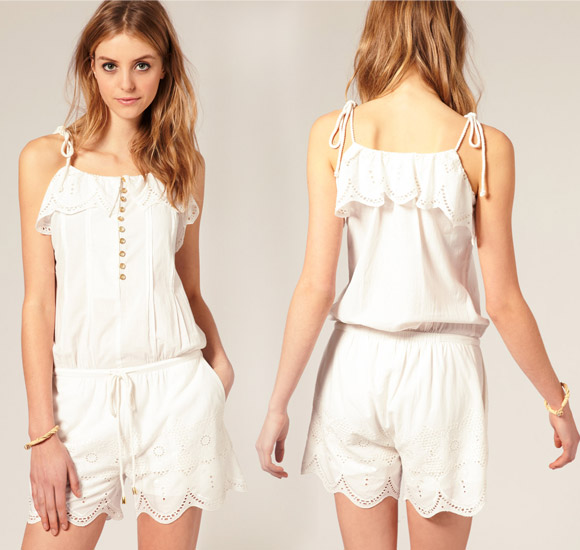 Vila - Broderie Frill Playsuit With Rope Ties, copricostume bianco romantico
