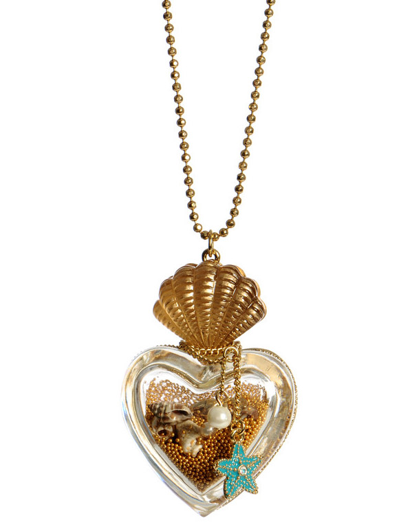Betsey Johnson - Mermaid's Tale Heart Bottle Necklace, collana con bottiglia con sabbia kawaii