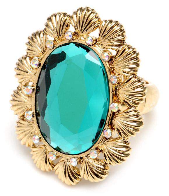 Betsey Johnson - Mermaid's Tale Blue Oval Shell Ring, anello con conchiglie