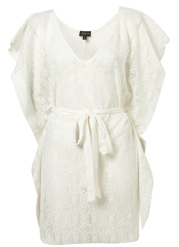 Topshop - White Lace Cape Cover Up white, copricostume bianco