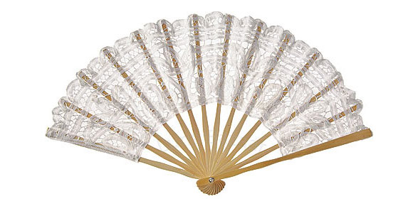 Luna Bazaar - White Cotton Lace Hand Fan, ventaglio con pizzo bianco