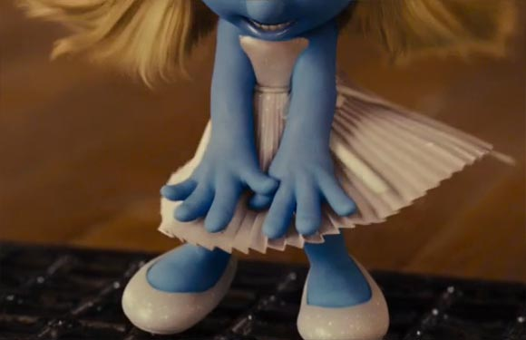 Puffetta Smurfette come Marilyn Monroe in The Smurfs movie, i puffi film