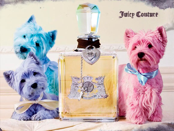 Juicy Couture Fragrance, adv by Tim Walker, pastel dog kawaii