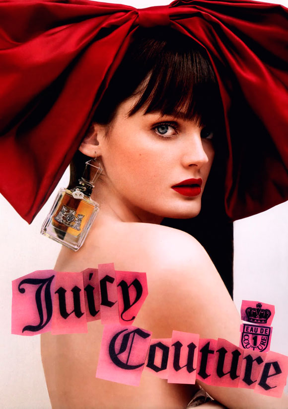 Juicy Couture Fragrance, adv by Tim Walker, model Lisa Cant with red bow