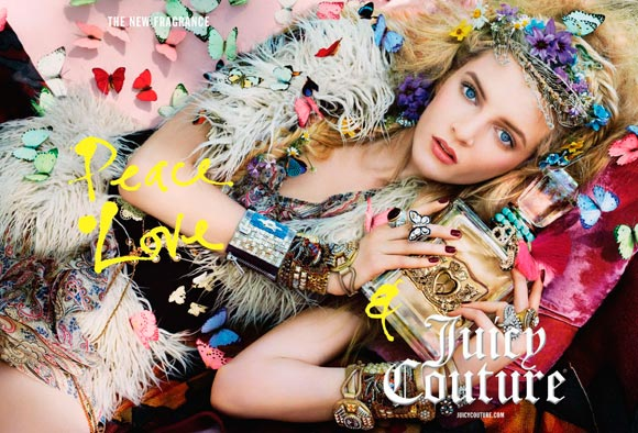 Peace, Love & Juicy Couture Fragrance, adv by Steven Meisel, model Daria Strokous hippy