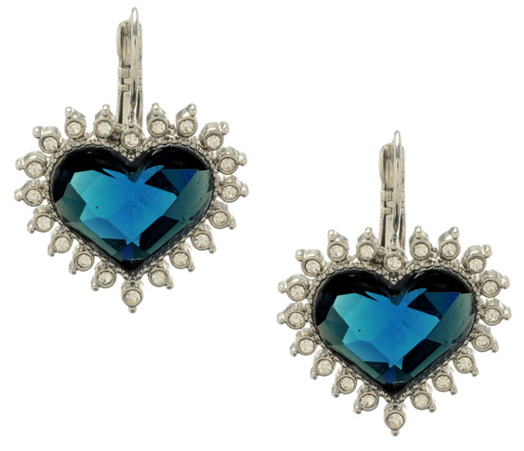 Betsey Johnson - Blue Crystal Heart Drop Earrings, orecchini a cuore blu