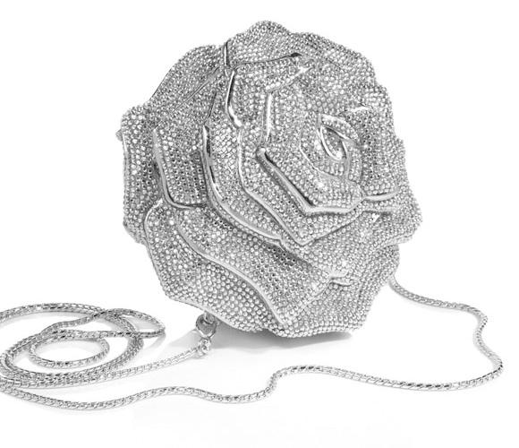 Judith Leiber -  Rose Crystal Handbag, Rhine, borsa a forma di rosa con cristalli bianchi