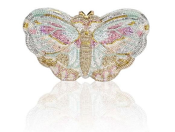 cute butterfly Painted Lady Crystal Handbag, borsa di cristalli a forma di farfalla