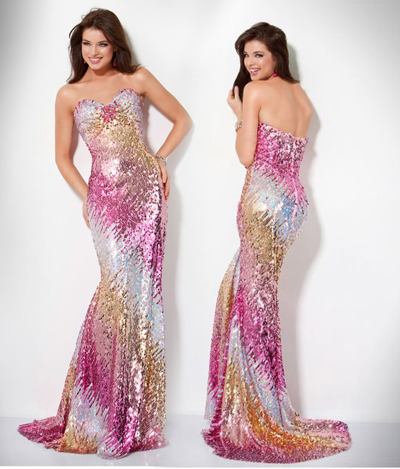 Jovani - Ombre Sequin Grown Dress, abito con paillettes oro e rosa
