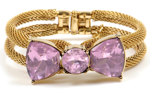 Betsey Johnson - cute Pink Crystal Bangle Bracelet, bracciale oro con fiocco rosa kawaii
