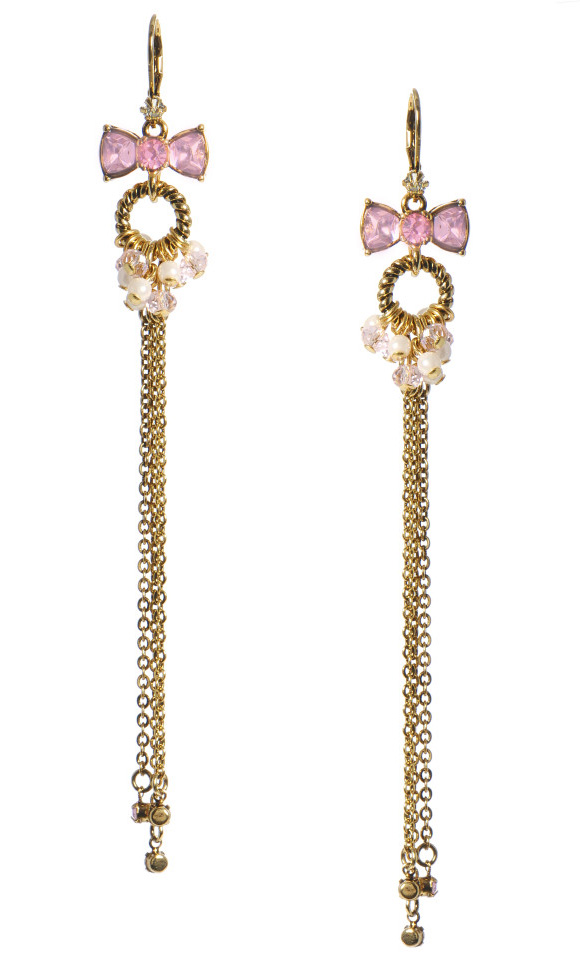 Betsey Johnson - Pink Crystal Bow Long Drop Earrings, orecchini lunghi con fiocco cute kawaii