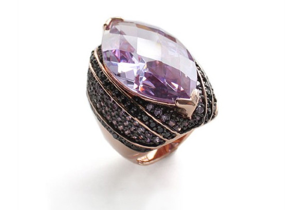 nOir Jewelry - Purple Oval Ring, anello lilla rosa con pietra ovale