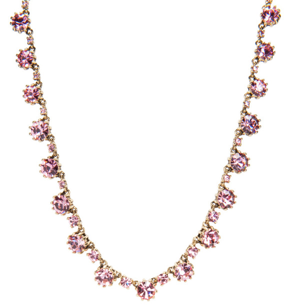Betsey Johnson - cute Pink Crystal Necklace, collana con cristalli rosa kawaii