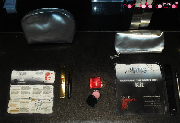 Surviving The Night Out beauty Kit at Vogue Fashion's Night Out Milano 2011