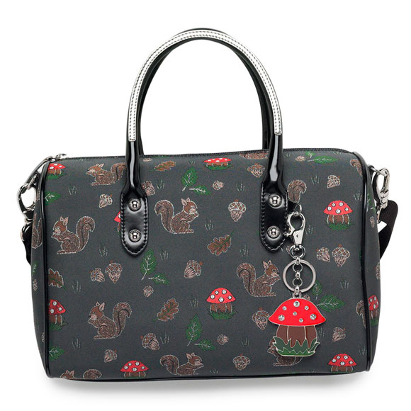 fall winter 2011 2012 collection, Braccialini Jacquard, borsa con scoiattoli e funghi