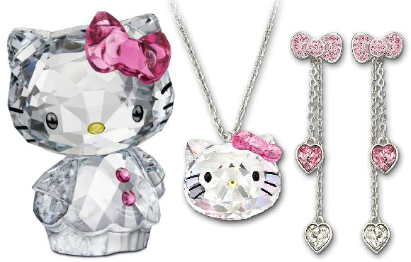 fall winter 2011 2012 collection Swarovski pink necklace and earrings, orecchini e collana con fiocco rosa - Hello Kitty
