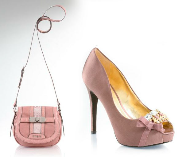 fall winter 2011 2012 collection Guess, pink and romantic bag and shoes, scarpe e borsa rosa