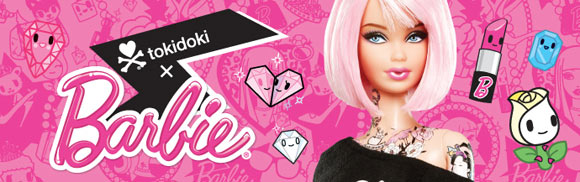 Tokidoki Barbie Doll with tattoo and pink hair, bambola tatuata
