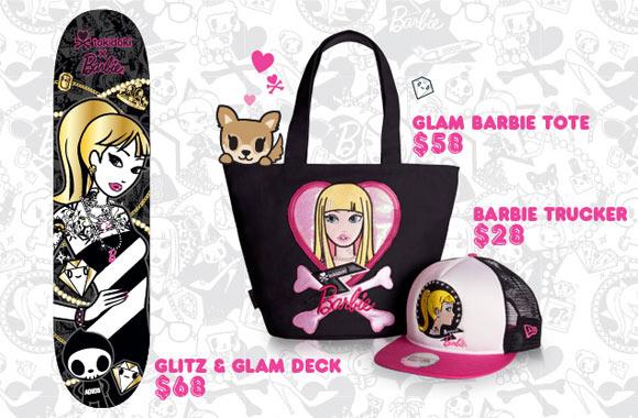 Tokidoki x Barbie Collection, skate skateboard e cappellino