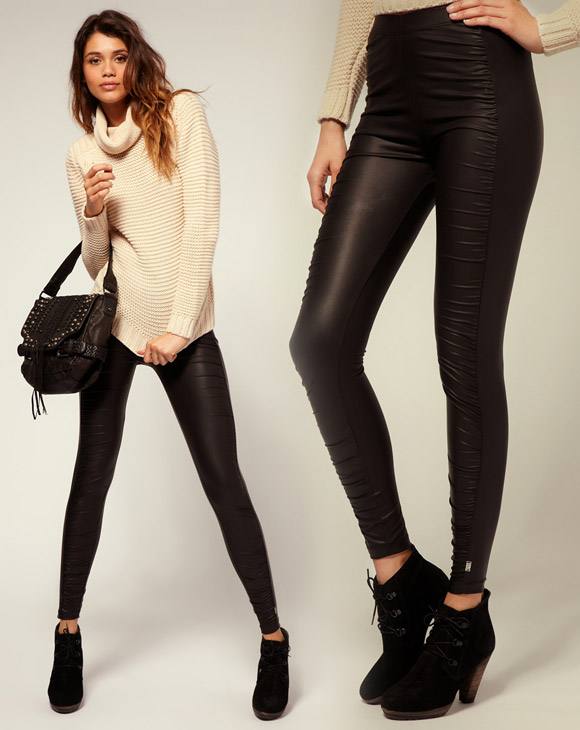 gatto cat look: Miss Sixty balck Leggings, pantaloni di pelle neri