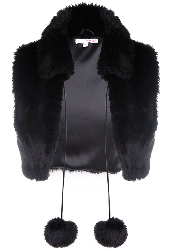 gatto cat look: Tally Weijl - Cropped Faux-Fur Vest balck, pellicciotto nero
