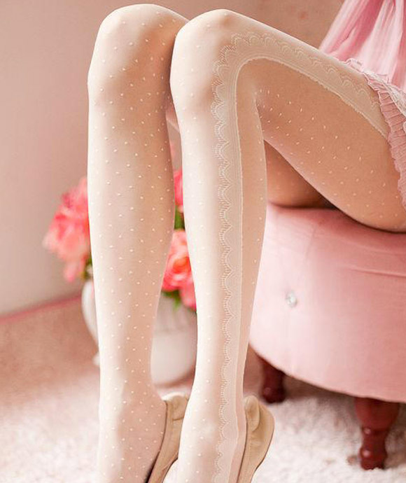 kawaii cute cat look: SHY SHY Dotted & Lace Print Tights, calze bianche a pois