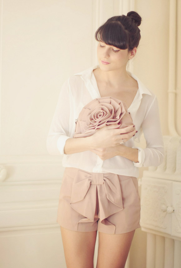 kawaii cute cat look: Queen's Wardrobe - Mini Ruffle & Big Ribbon, pantaloncini rosa con fiocco