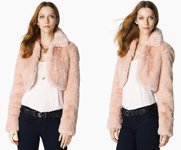 kawaii cute cat look: Juicy Couture Bunny Bolero pink fur, pellicciotto pelliccia rosa