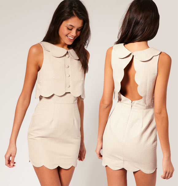 Chic Kawaii Look: Bon Ton, ASOS - Pique Chelsea Scalloped Shift Dress, abito romantico