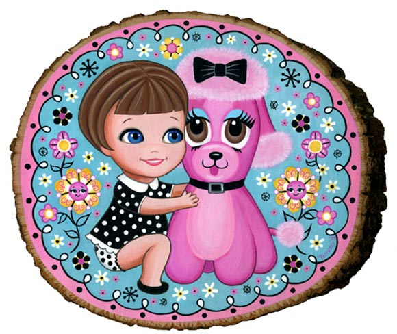 Lisa Petrucci Lil' Liddle Lisa and Pink Poodle, girl with pink dog