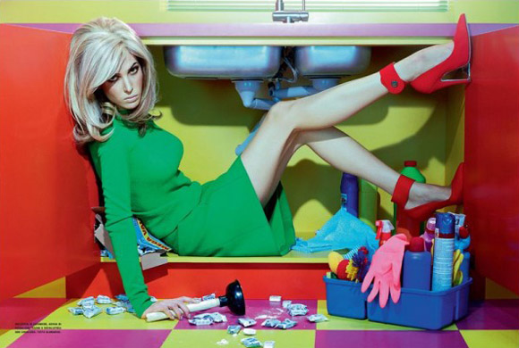 Ruby Aldridge photographed by Miles Aldridge, October Vogue Italia