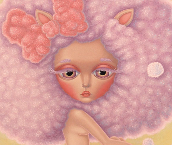 Maria Rozalia Finna - Resting in a Fuzzy Zone, cute sheep girl, ragazza pecora