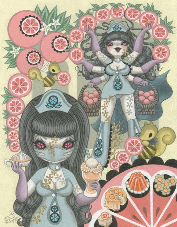 Junko Mizuno Venus Cake Exhibition, Oranges, arance e infermiere kawaii