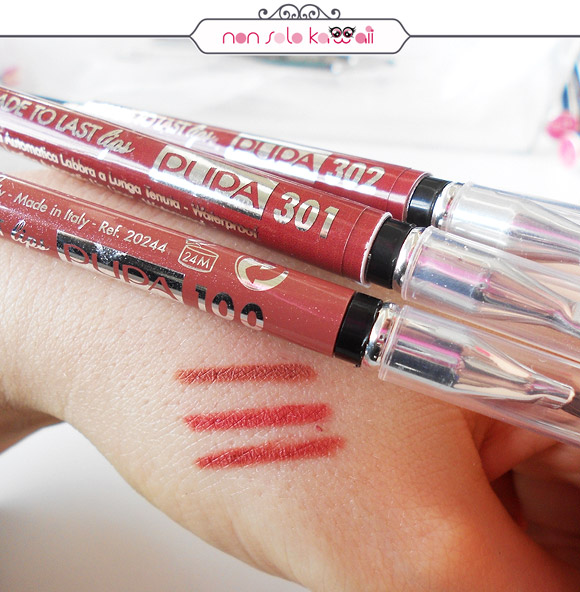 non solo Kawaii - Pupa, Lipliner Made To Last swatches 100, 301, 302