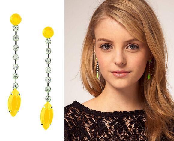 ASOS - Neon Bead and Rhinestone Drop Earrings