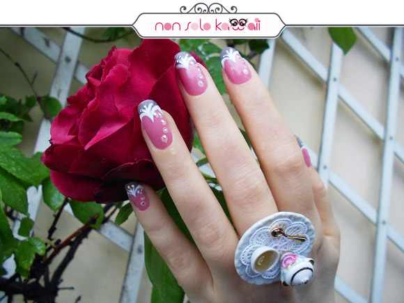 Tulip manicure flower, 5 o'clock in the Rose Garden, Orly Cool Romance