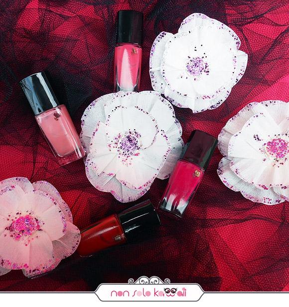 Lancôme Vernis in Love 300M Rose Plumetis, 343B Rose Pitimini, 375B Rose Boudoir, 147M Rouge Valentine