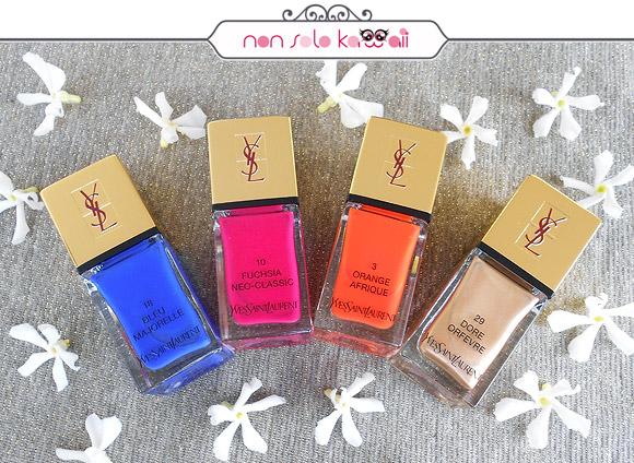 Yves Saint Laurent - La Laque Couture, N°18 Bleu Majorelle, N°10 Fuchsia Néo-Classic, N°3 Orange Afrique, N°29 Doré Orfèvre