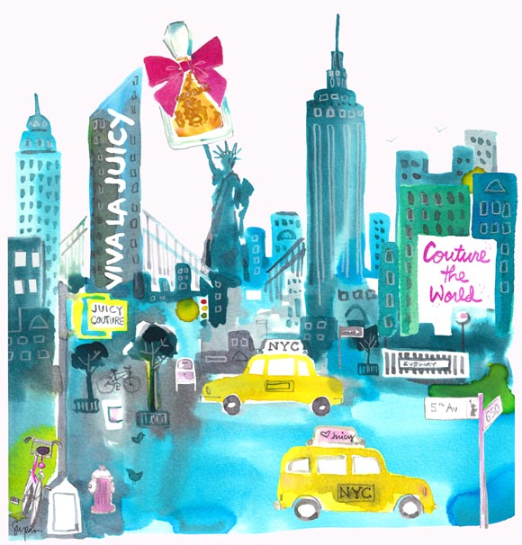 Sujean Rim for Juicy Couture Jetsetter, watercolor fragrances, New York & Viva La Juicy